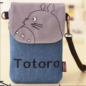 Totoro Canvas flap front bag NEW w/ shoulder strap
